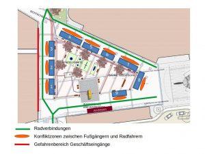 Wochenmarkt Kaltenkirchen mit Konfliktbereichen